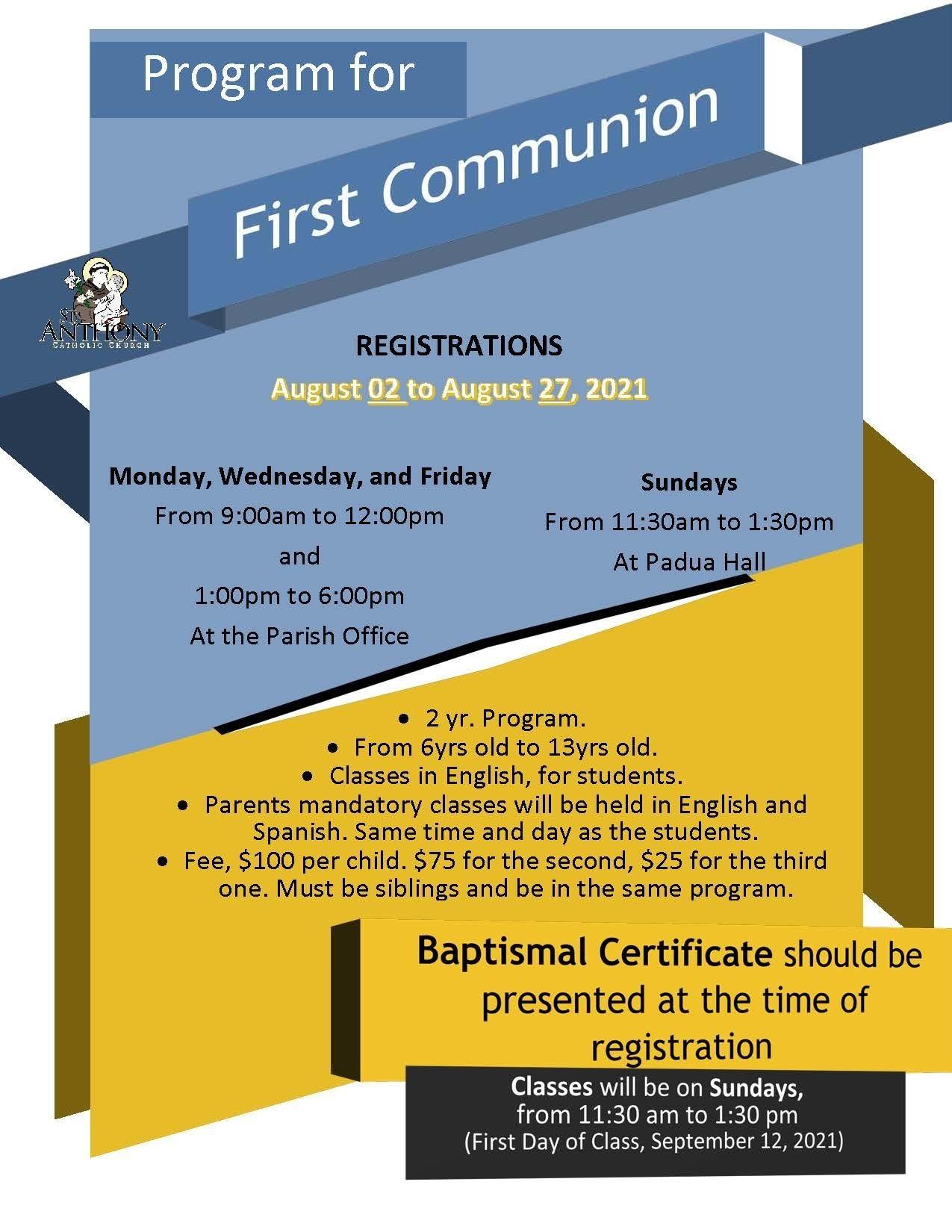 First Communion Program